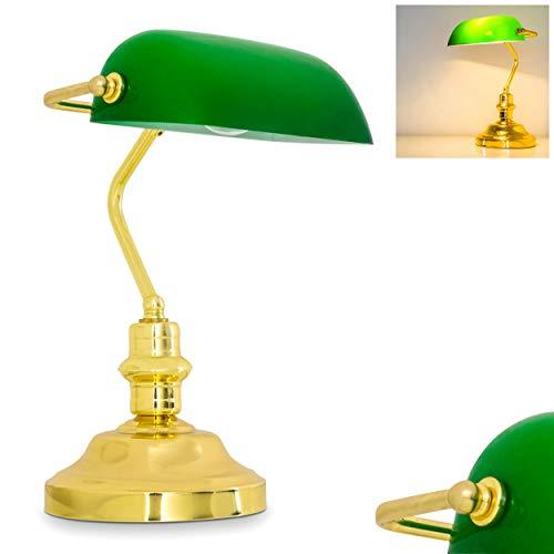 Klassische Bankerlampe, Retro Tischlampe aus Metall in poliertem Messing, Leuchtenschirm aus Glas in Grün, E27-Fassung max. 60 Watt, Tischleuchte für Büro u. Schreibtisch