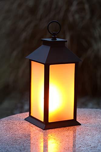 Flower Power LED lantaarn FIRE CASA, plastic, zwart, 14x14x30 cm