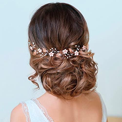 Runmi Diadema de novia con flores de color dorado, accesorios para el pelo de novia, diademas de cristal para mujeres y niñas