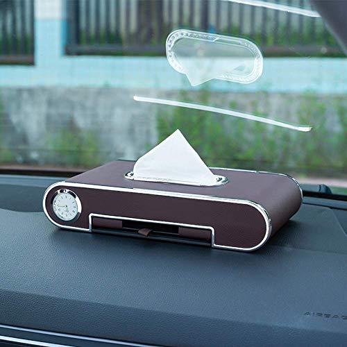 SCJ Soporte para Caja de pañuelos para automóvil Juegos de Toallas de Papel con Almacenamiento de Diamantes Servilletero, Organizador multifunción para Soporte de pañuelos automático con Reloj d