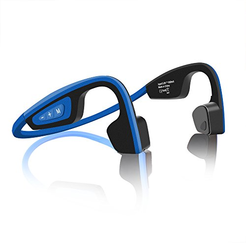 Bone Conduction Bluetooth Headphones – longee Sweatproof HD Stereo Memory Metal Wireless Headset for Sports, Driving, Open Back Noise Cancelling Bluetooth Earphones (Blue)