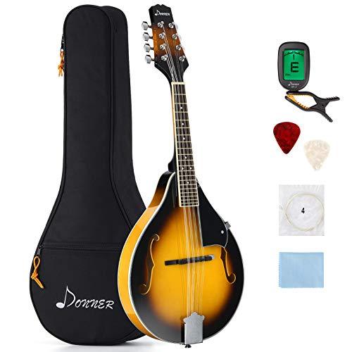 Donner Mandolino Tradizionale a 8 Corde Mandolini Strumento per Principiante Studente Mandolini Set con Custodia Sintonizzatore Plettri Corde (Sunburst, DML-1)