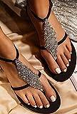 Hwcpadkj Sandalias Mujer Planas Sandalias de Playa Chanclas para Mujer Zapatos de Punta Abierta Roma Flip Flop de Diamantes de imitación Zapatillas Bohemias,Negro,43