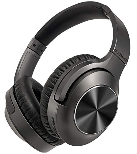 Active Noise Cancelling Headphones OCOMMO Wireless 5.0 Bluetooth Headphones Over Ear Headset with Dual Mic HiFi Sound, Wireless Headphones with Deep Bass, 30H Playtime for Work Travel Zoom, Black