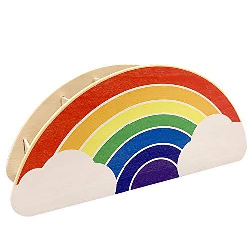 Soporte de madera arco iris, soporte de bolígrafo de madera, organizador de escritorio para el hogar, suministros de oficina, cepillo de maquillaje, organización para mujeres y niños