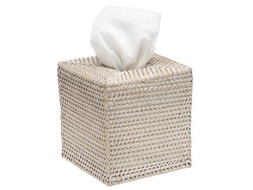 """KOUBOO 1030036 Square Rattan Tissue Box Cover, 5"""" x 5"""" x 5.5"""", White Wash"""