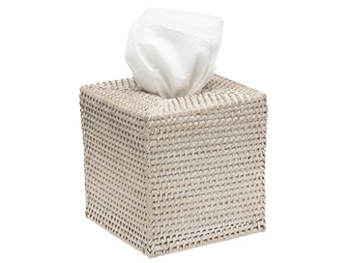 KOUBOO 1030036 Square Rattan Tissue Box Cover, 5' x 5' x 5.5', White Wash