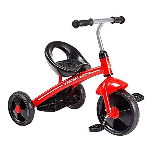 YGB Triciclo, Triciclo para niños Bicicleta para niños Ligera Juguetes para niños portátiles Asiento portátil con Bolsa de Almacenamiento Rojo