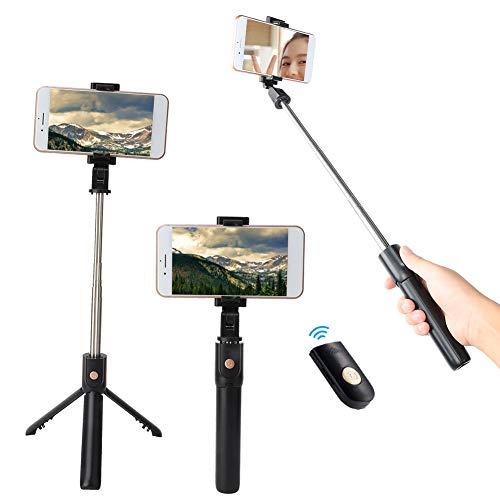 Ruiqas 2 in 1 Selfie-Stick Ausziehbarer Stativständer mit Drahtloser Fernbedienung für Android Ios-Mobiltelefon