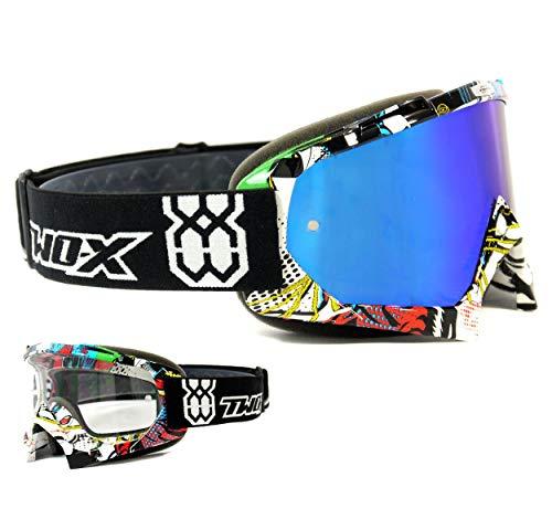 TWO-X Race Crossbrille Villain bunt Glas verspiegelt blau MX Brille Motocross Enduro Spiegelglas Motorradbrille Anti Scratch MX Schutzbrille