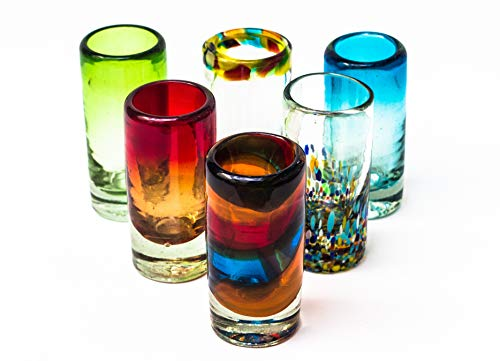 Mexican Tequila Glass Shot - 6 Pack Novelty Design Multicolor Recycled Glassware Set Unique Artisan Crafted Dishwasher Safe Lead Free Hand Blown Vodka Scotch Whiskey Wine tots 2 oz. party supplies