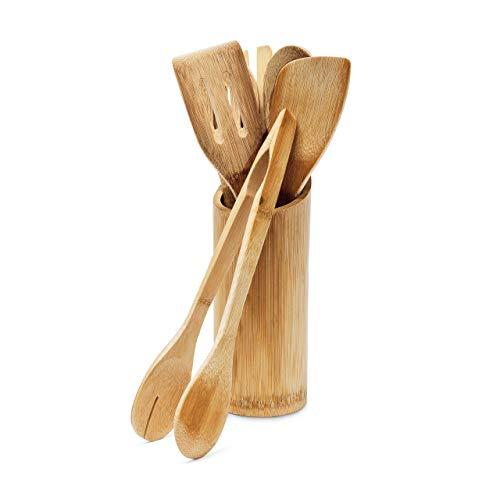 Relaxdays 10018879 Set di 6 Mestoli con Portamestolo, Legno di bambù, 10 X 10 X 40 cm, Marrone