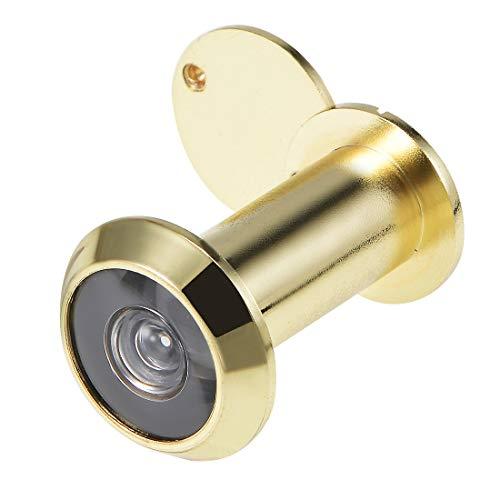sourcing map Visor de puerta de bronce de 200 grados con tapa para puertas de 35 mm-60 mm, oro pulido