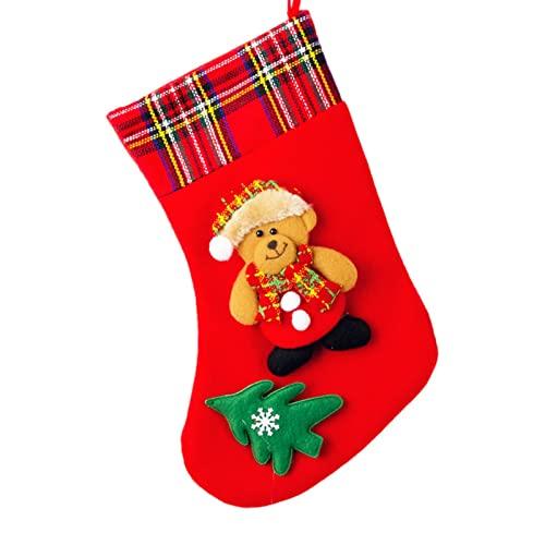 A/M Classic Red 4 Piezas Chimenea colgado a Cuadros Felpa puños Medias Fieltro Papá Noel, muñeco de Nieve, Reno Navidad calcetín 4 Piezas para decoración del árbol de Navidad