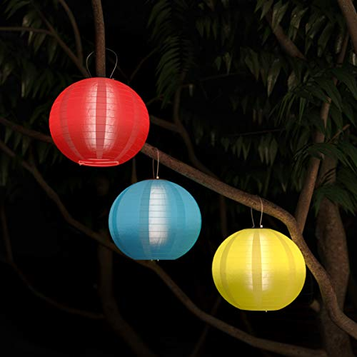 Pure Garden 50-LG1007 Chinese Lanterns Fabric Lamps with Solar Powered LED Bulbs and Hanging Hooks-Perfect for Patio, Trees, or Porch (3 Pack-Multi)