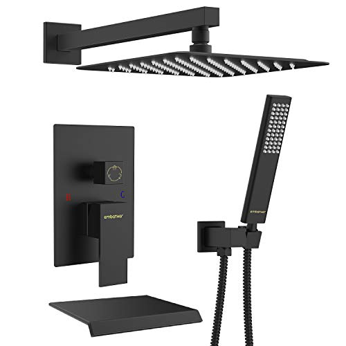 EMBATHER Black Shower System with Waterfall Tub Spout- 10 Inches Rain Shower Tub Faucet Set with Square Showerhead and Handhled-Eco-Friendly(Valve included)