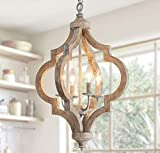 Antique Wood and Metal Chandelier Ceiling Pendant 4 Light Candle Holder Lights Retro Vintage Industrial Rustic Hanging Ceiling Lamp Light Fixture for Home decor-D16'x H23.9'
