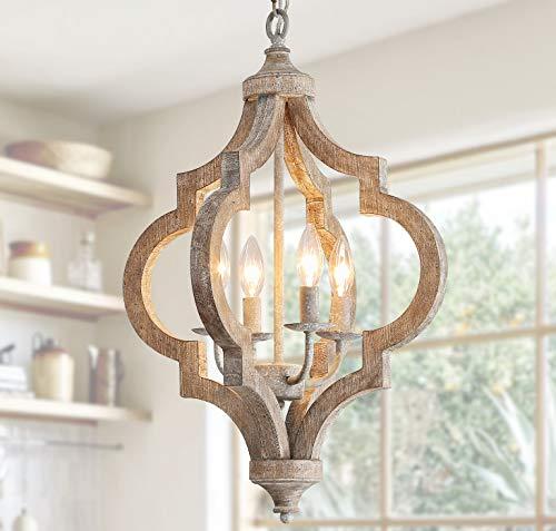 Lámpara de techo colgante de madera antigua y metal con 4 luces de soporte para velas, estilo retro vintage, estilo rústico industrial