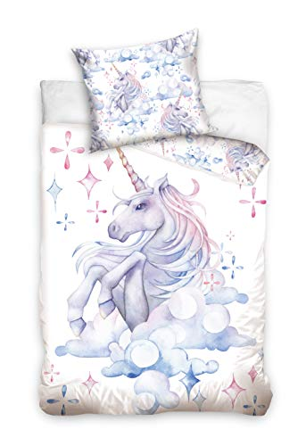 one-home Einhorn Bettwäsche 135x200 cm Unicorn Pferde bunt weiß Renforce Baumwolle Wende