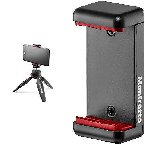 Oferta de Manfrotto Pixi Smart - Mini trípode para Smartphone, Negro + MCLAMP Attacco per Smartphone, Grigio