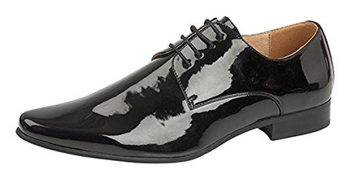 Zapatos de charol para hombre con punta fina y cordoneras con 4 ojales, color negro, color Negro, talla 47 EU (13 UK)