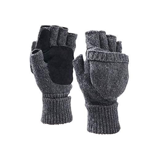 T-T-DENG Klemschaal Halve Vinger Handschoenen Man Winter Dikke Gewatteerde Rijden Motorfietsen Koude Handschoenen Warm Handschoenen Gebreide Handschoenen Anti-slip Rijden