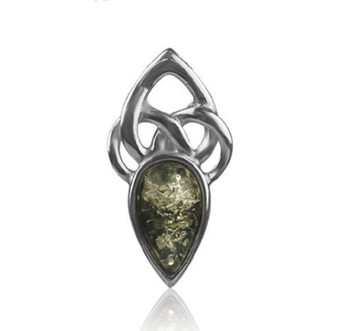 Green Amber Sterling Silver Celtic Slider Pendant