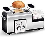 Cocina, Tostadora 2 rebanadas de Emparedado de Acero Inoxidable Tostadora panificadora automática Ajuste de la función...