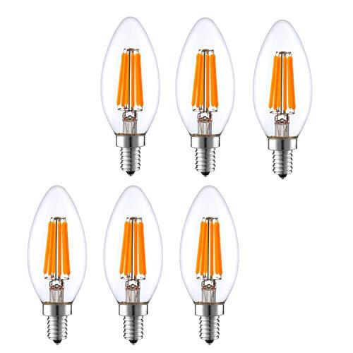 LED Chandelier Light Bulbs Dimmable, 4W (40W Equivalent), 400 lumens, 2700K, Warm White, Omnidirectional, Candelabra Base, e12 led Bulb, 120v Indoor Outdoor UL-Listed.
