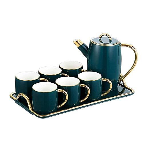 HaoLi Advanced New Bone China Coffee Service 6 Persons Cups Includes Porcelain Mug Tray and Teapot European Titanium Gold Tea Set 250ml