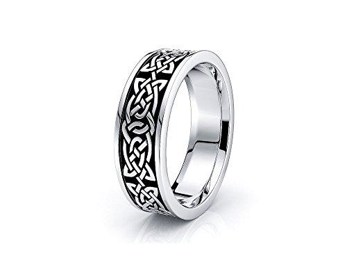 Alganati 10K White Yellow Gold 6mm Celtic Knot Wedding Band Rings Black Nano Plated