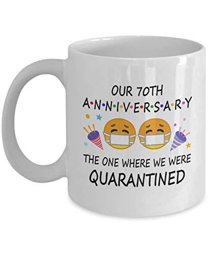 Kaffeetasse zum 70. Quartantänen-Jahrestag 2021 für Paare, Eltern, Herren, Ihn, Ihn, Ihn, Ihn, Ihn, Ihn, Ihn, Ihn, Ihn, Ehe, Party, Married 1951, 325 ml, Weiß