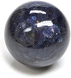 Crocon Iolite Gemstone Crystal Sphere Ball   Feng Shui   Reiki Healing   Aura Cleansing   Spiritual   EMF Protection   Meditation  Good Luck Charm  Home & Office Decorative Gift  Size : 40-50mm