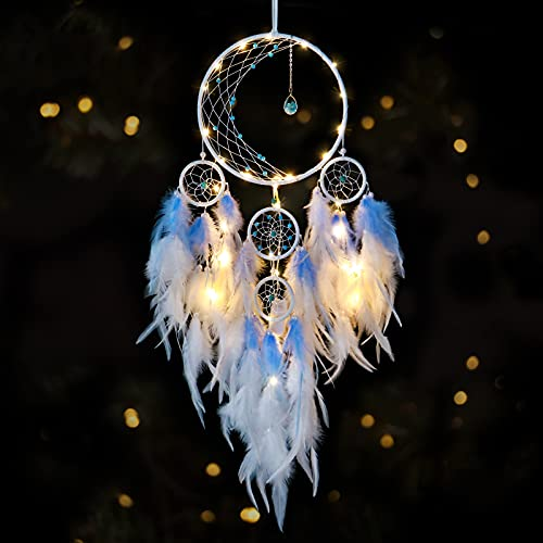 KHOYIME LED Light Up Dream Catcher Half Circle Moon Decor with Lights Handmade Feather Dreamcatchers for Bedroom Bohemian Home Decor Wedding Ornament Craft Gift (Blue)