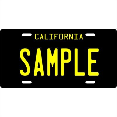 Your Name Your State Custom Metal License Plate - Choose from All 50 States (California Black 1960's, 6' x 12' Standard Thickness (.030'))
