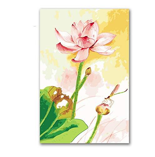 YUWO Kleurplaten Tekenen Door Getallen Planten Lotus En Draak Diy Olie Schilderen Bloemen Met Kits Voor Woonkamer Muurdecoratie 40x50cm Framless