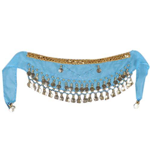2-Pieces Chiffon Arabisch Bauch des Kindes Tanz Schal Kinder Münzen-Gurt-Hüfte-Schal-Rock-Verpackungs-Gurt Regard