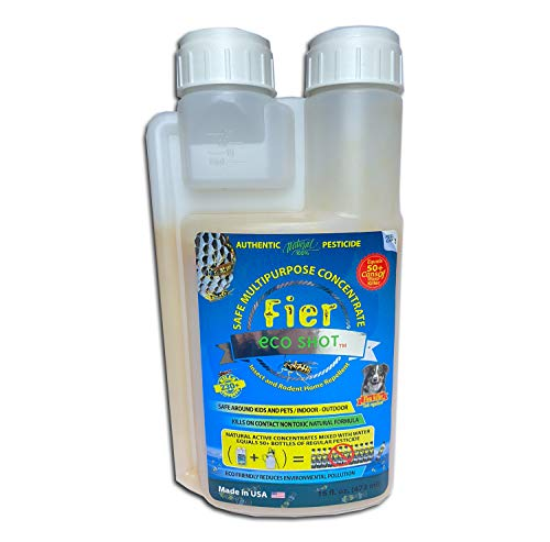 """Fier eco shot"""" Safe 100% Natural Insecticide Made in USA Concentrate Kills Most Home Invaders Spiders, Ants, Fleas, Ticks, Wasps, Cockroaches, Pesticide Crop Control, All in One Equals 50 Cans"""