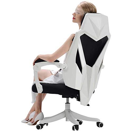 CSD Cerebro Silla Esports Silla Juego Silla Asiento del hogar Silla del Dormitorio Cómoda Silla de Oficina reclinable sedentaria (Color : White)