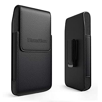 Mobile Vogue by Reiko Premium Eco-Friendly Leather Phone Pouch Belt Clip Holster Compatible with iPhone/Galaxy/Stylo/Android Phone with Protective Case on (Black-MV385, 6.6 x 3.5 x 0.7 in)