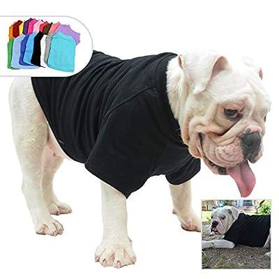 lovelonglong Bulldog Clothes Dog Clothing Blank T-Shirt Tee Shirts for French Bulldog English Bulldog American Pit Bull Pugs 100% Cotton Skin Care Black B-XL