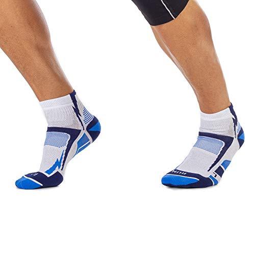 MICO CALCETINES DE CARRERAS PROFESIONAL 100% Made in Italy, en Tejido de Micropoliamida + X-Static + LYCRA X, Ultraligero Extralight Weight, para Hombres y Mujeres Deportes, en Color Blanco Azul