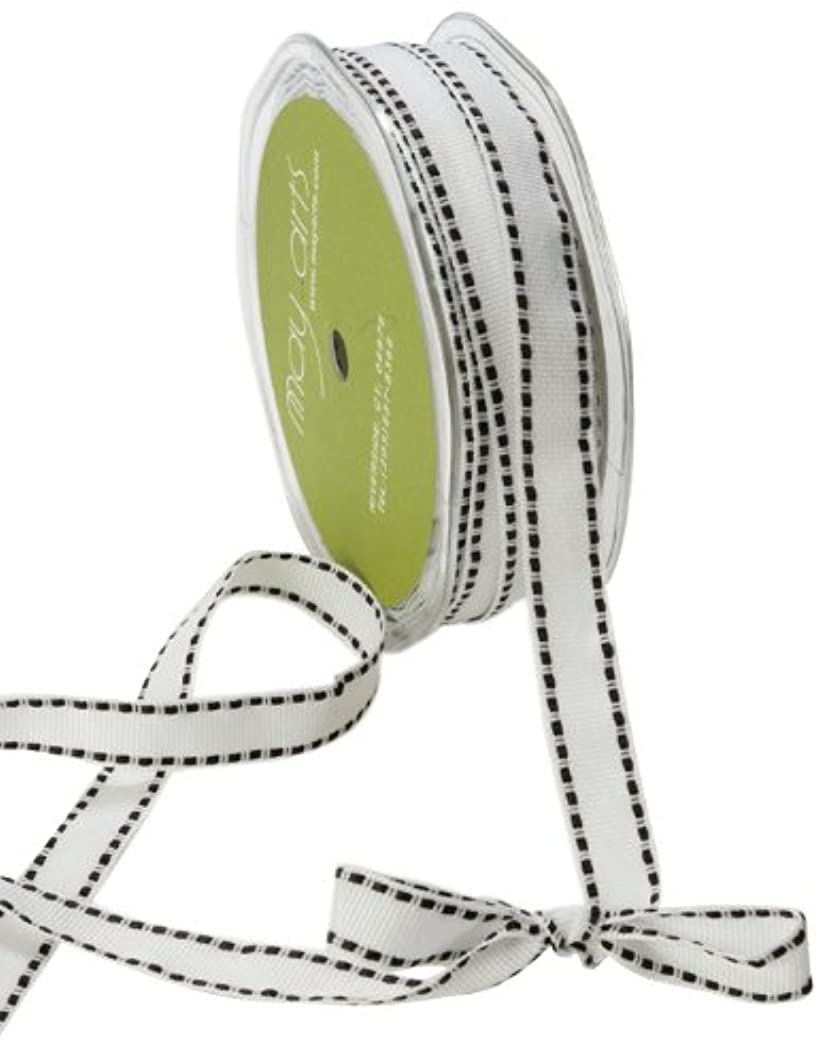 May Arts 1/2-Inch Wide Ribbon, White Grosgrain with Black Stitches