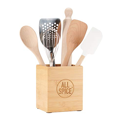 AllSpice Bamboo Wood Kitchen Utensil Holder, Natural Bamboo