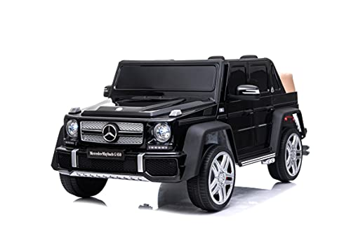 RICCO® 12V 7A Mercedes Maybach G650 Licensed Kids Electric Ride on Car with Bluetooth USB Music LED Lights Parental Remote Control (BLACK)