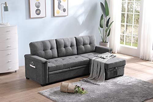 Lilola Home Ashlyn Contemporary Gray Woven Fabric Padded Upholstered Modern Sofa Bed Couch Sectional Sleeper Sofa Storage Chaise with USB Charger and Tablet Pocket for Phone Charging Port Station