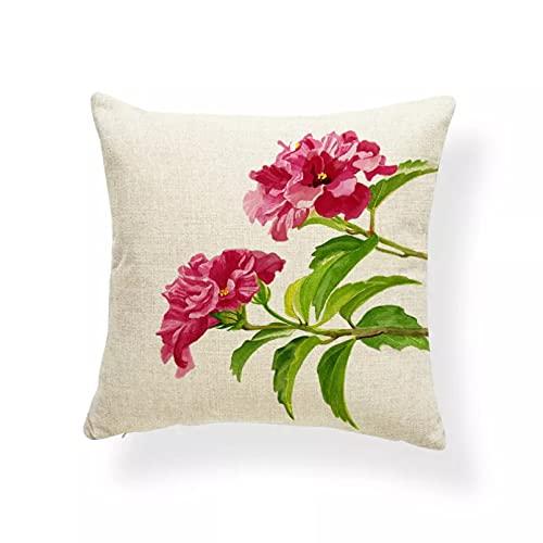 Funda Cojine Funda Almohada sofá Decorar Pansy Tulip Hibiscus Funda de cojín Flor Lirio de agua Pillowe Rústico Country Car Decoración Mezcla de algodón de lujo sofá sala decor hogar navidad regalo
