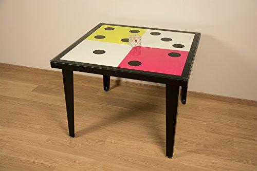 Styl'Métal 21 Table Dés 100x100 métal Noir, Blanc, Vert anis et Fuschia