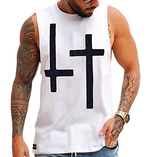 XDJSD Camiseta para Hombre Camiseta Corta Sin Mangas Chaleco para Hombre Camiseta De Gran Tamaño Top Sin Mangas Camiseta Cruzada En Blanco Y Negro Camiseta Blanca Suelta Sin Mangas