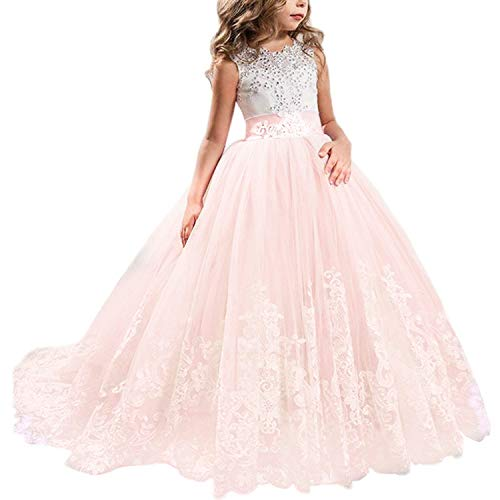 NNJXD Girls Princess Lilac Pageant Long Dress Kids Tulle Prom Ball Gowns Size (170) 14-15 Years Pink